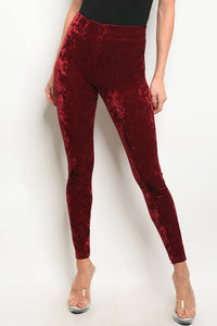Velvet Leggings Burgundy