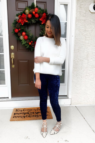 Velvet Leggings Navy