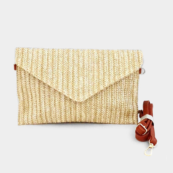 Envelope straw clutch