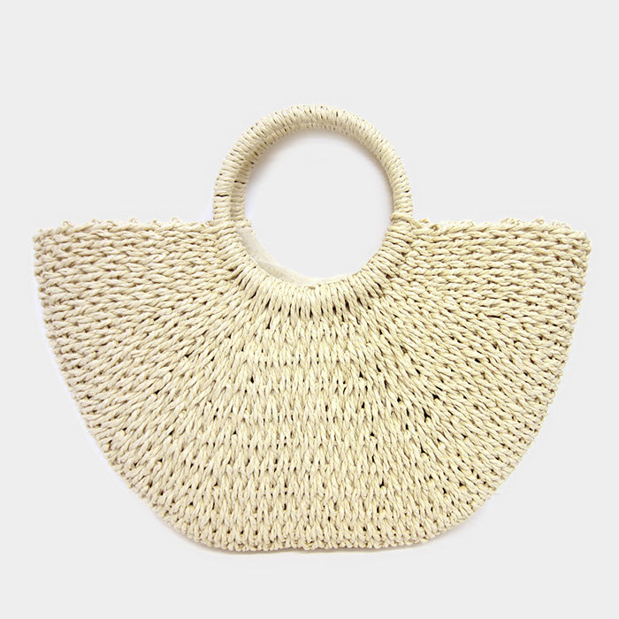 Straw basket tote bag