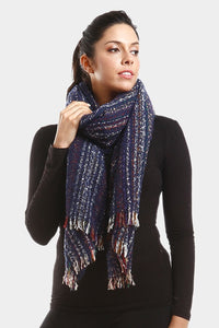 Sprinkle Striped Scarf Navy Blue