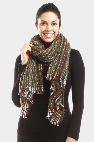 Sprinkle Striped Scarf Olive Green