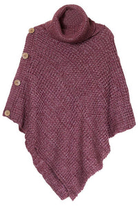 Button Up Poncho Berry