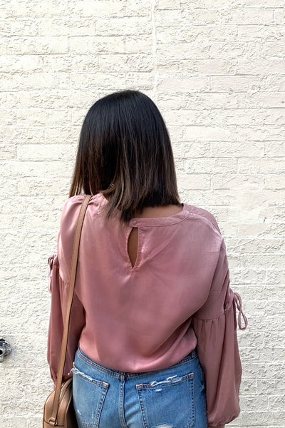 Satin Keyhole Top Dusty Pink