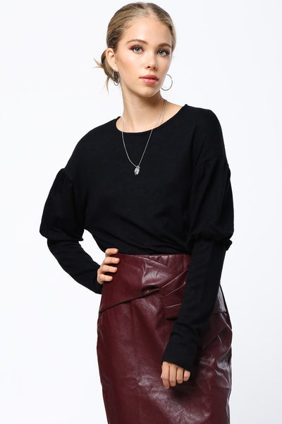 Bubble Sleeve Sweater Black