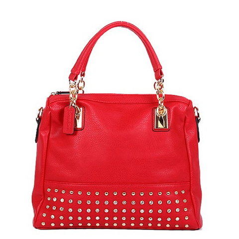 Red Crystals and Chain Accent Handbag
