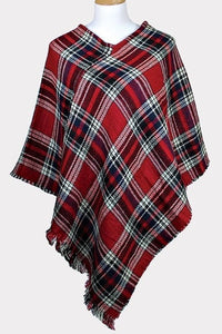 Plaid Poncho Red