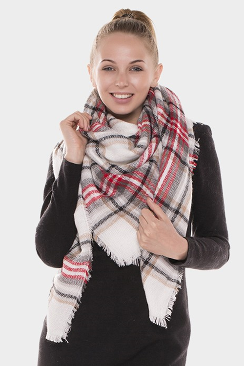 Off white plaid blanket scarf