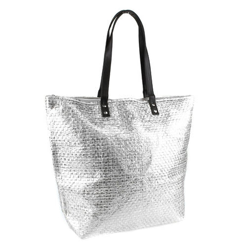 Silver metallic straw tote bag
