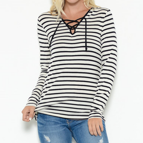 Lace up hoodie top