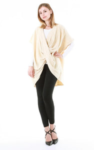Twisted Knit Poncho Wrap Ivory