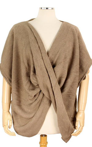 Twisted Knit Poncho Wrap Taupe