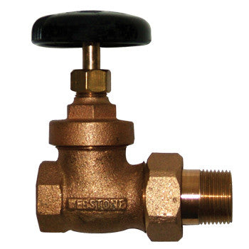 "Webstone 11524   1"" IPS BRASS RADIATOR GATE VALVE w/GROUND JOINT UNION NUT & TAILPIECE"