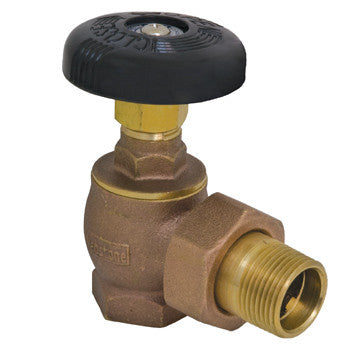 "Webstone 11535   1-1/4"" IPS BRASS STEAM RADIATOR GLOBE VALVE ANGLED w/GROUND JOINT UNION NUT & TAILPIECE"