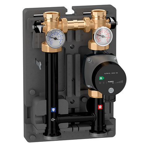 "Caleffi 165612A Brass Model 165 HydroMixer Injection Pump Mixing Unit 1"" connection with Alpha pump on left side"