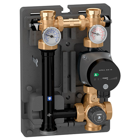"Caleffi 166600A Brass Model 166 HydroMixer Thermostatic Fixed Temp Mixing unit 1"" connection with 15-58 pump on right side"