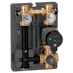 "Caleffi 166610A Brass Model 166 HydroMixer Thermostatic Fixed Temp Mixing unit 1"" connection with 15-58 pump on left side"