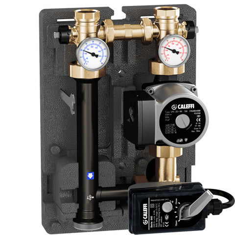"Caleffi 167610A Brass Model 167 HydroMixer Motorized Temp Mixing unit 1"" connection with 15-58 pump on left side"