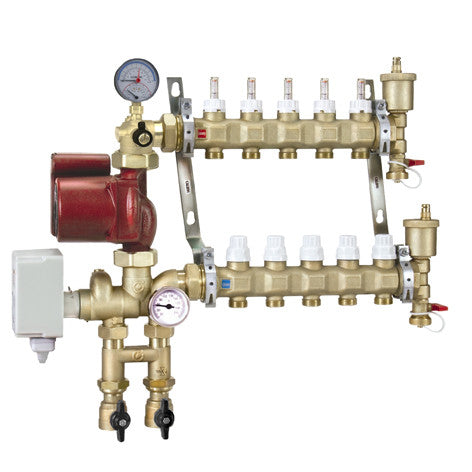 Caleffi 1715G1A Brass Model 171 7-Port Pre-assembled Manifold Mixing Station w/Three Speed UPS 15-58 Pump