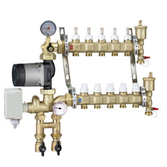 Caleffi 1715G1AHE Brass Model 171 7-Port Pre-assembled Manifold Mixing Station w/High Efficiency UPS 25-55U Pump