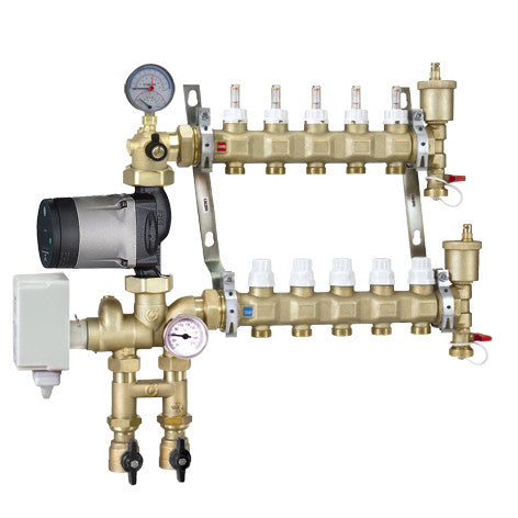 Caleffi 1715L1AHE Brass Model 171 10-Port Pre-assembled Manifold Mixing Station w/High Efficiency UPS 25-55U Pump