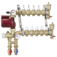 Caleffi 1725G1A Brass Model 172 7-Port Pre-assembled Manifold Mixing Station w/Three Speed UPS 15-58 Pump