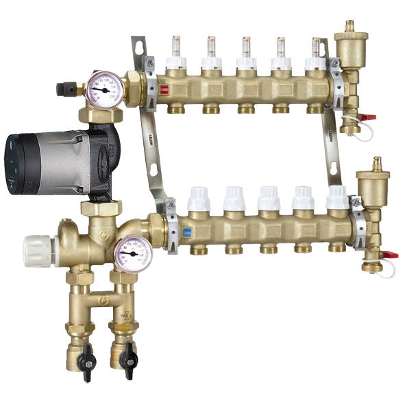 Caleffi 1725I1AHE Brass Model 172 9-Port Pre-assembled Manifold Mixing Station w/High Efficiency UPS 25-55U Pump