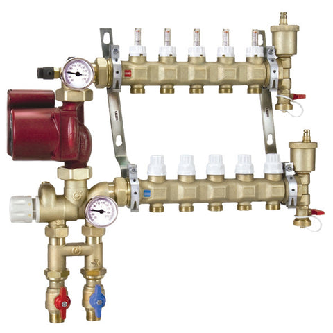 Caleffi 1725L1A Brass Model 172 10-Port Pre-assembled Manifold Mixing Station w/Three Speed UPS 15-58 Pump