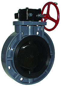"LEGEND 201-271   10"" FLANGED S-651 WAFER TYPE PVC BUTTERFLY VALVE WITH EPDM SEAT & O-RINGS, GEAR OPERATOR"
