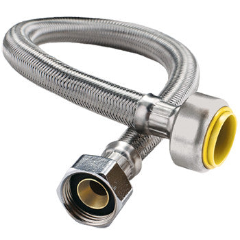 "Webstone 26023W-24-B   1/2"" PRO-PUSH x 3/4"" FIP 24"" STAINLESS STEEL WATER HEATER CONNECTOR(LEAD FREE)"