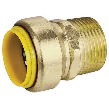 "Webstone 26343W   1"" PRO-PUSH x 3/4"" MPT STRAIGHT CONNECTOR-L  DZR BRASS"