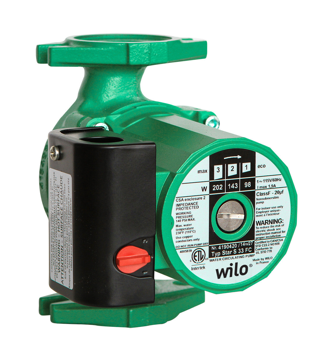 WILO 2760311 Star S 33 FC Cast Iron Three Speed Circulator Pump