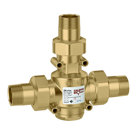 "Caleffi 280175A Brass Model 280 ThermoMix Boiler Protection High-Flow Thermostatic Mixing Valve 1-1.4"" NPT, 130F"