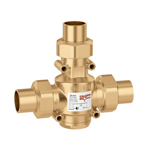 "Caleffi 280975A Brass Model 280 ThermoMix Boiler Protection High-Flow Thermostatic Mixing Valve 1-1/4"" SWT, 130F"