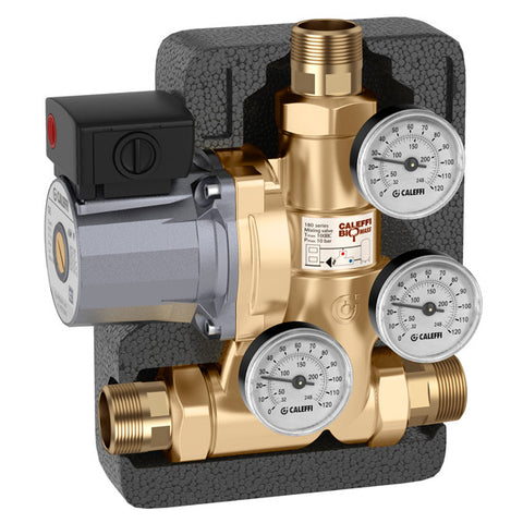 "Caleffi 281175A Brass Model 281 ThermoBloc Boiler Protect Recirculation And Distribution Unit 1-1/4"" NPT, 130F"