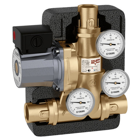 "Caleffi 281965A Brass Model 281 ThermoBloc Boiler Protection Recirculation And Distribution Unit 1"" SWT, 130F"