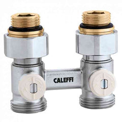 "Caleffi 301040 Model 3010 Dual panel radiator valve, 1/2"" metric , single straight, 3/4"" conical connection"