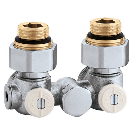 "Caleffi 301341 Model 3013 Dual panel radiator valve, 1/2"" metric , one pipe angled, 3/4"" conical connection"