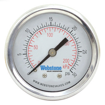 "Webstone 31000   1/4"" NPT STAINLESS STEEL PRESSURE GAUGE DUAL SCALE, LIQUID FILLED, 2"" DIAL W/CENTER BACK CONNECTION"