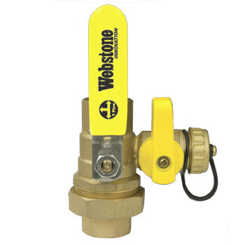 "Webstone 40434W PRO-PAL 1"" IPS LEAD FREE UNION BALL DRAIN FULL PORT BRASS BALL VALVE HI-FLOW HOSE DRAIN"