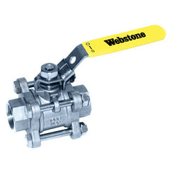 "Webstone 43702   1/2"" IPS FULL PORT 316 STAINLESS STEEL 3-PC BALL VALVE w/ 304 STAINLESS STEEL LOCKING HANDLE"