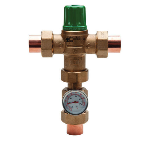 "Taco 5003-HX-C3-G   3/4"" Sweat Union 5003 Heating Only Thermostatic Mixing Valve w/Temp Gauge"