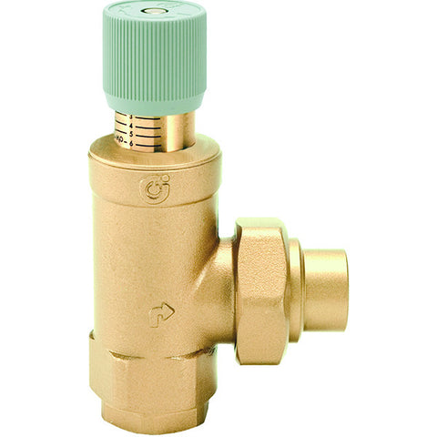 "Caleffi 519609A Brass Model 519 Differential Bypass Valve 1"" NPT with 1"" Sweat"