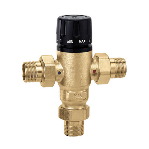 "Caleffi 521400AC Low Lead Brass Model 521 MixCal 3-way Thermostatic Mixing Valve 1/2"" NPT w/check"