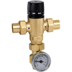 "Caleffi 521419AC Low Lead Brass Model 521 MixCal 3-way Thermostatic Mixing Valve 1/2"" SWT w/ temp gauge+check"