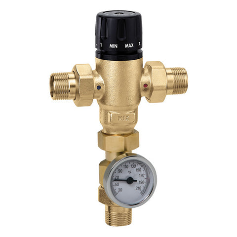 "Caleffi 521510AC Low Lead Brass Model 521 MixCal 3-way Thermostatic Mixing Valve 3/4"" NPT w/temp gauge+check"