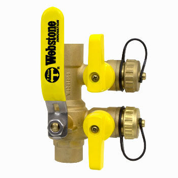 "Webstone 58613 PRO-PAL 3/4"" SWT PURGE & FILL FULL PORT BRASS BALL VALVE w/ (2) HI-FLOW HOSE DRAINS"