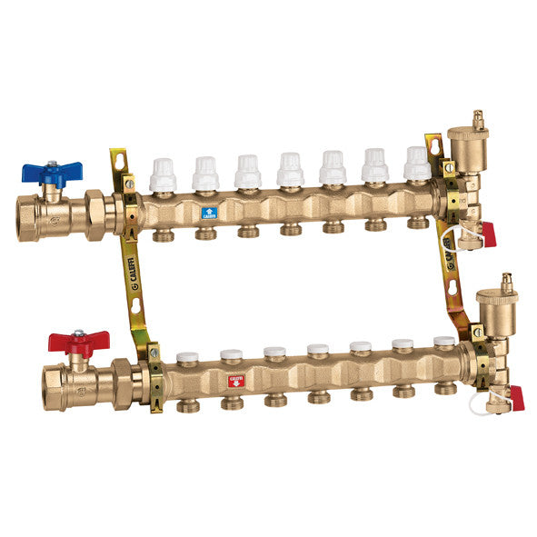 "Caleffi 6637D5A Brass Model 663 1 1/4"" Pre-Assembled Distribution Manifold Assembly 4 Ports"