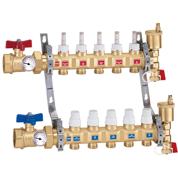 "Caleffi 6686E5S1A Brass Model 668S1 1"" TwistFlow Distribution Manifold Assembly 5 Outlets, with temp gauges"