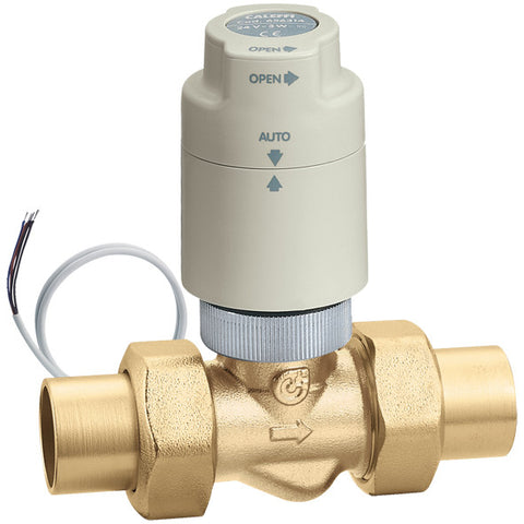"Caleffi 676259A Brass Model 6762 Thermo-Electric Zone Valve 3/4"" SWT Union With Twistop Endswitch Actuator"